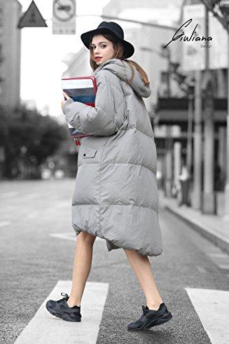 Abrigo Abrigo Acolchado Gris Largo Plumífero Mujer Plumas Invierno xAOBU