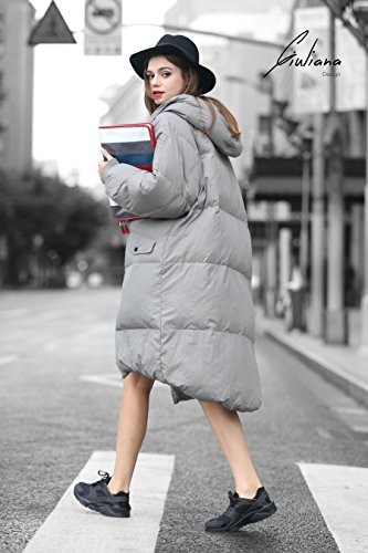 Gris Plumífero Invierno Mujer Largo Acolchado Abrigo Abrigo Plumas wqnXFtFp