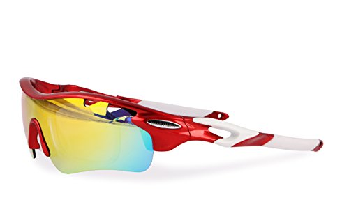 Running Trail Running Ciclismo BTT Brown Labrador Gafas Ciclismo polarizadas con 5 Lentes Intercambiables UV 400 Gafas Deportivas para Hombre y Mujer