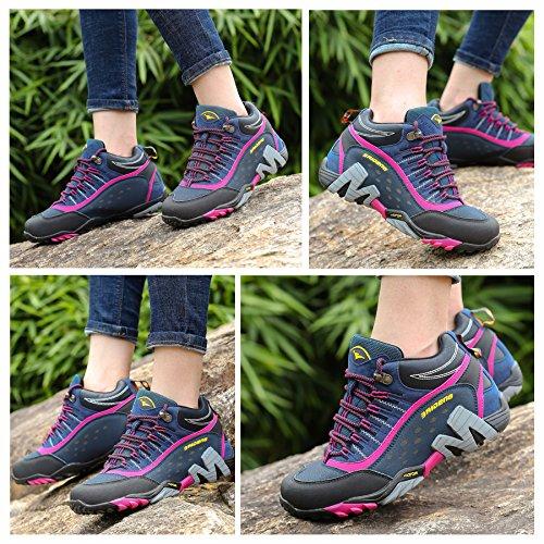 f01686bd85f GNEDIAE Zapatillas de Senderismo Hombre Mujer Big Size Leather Lace-ups  Trail Camping Sneaker para ...