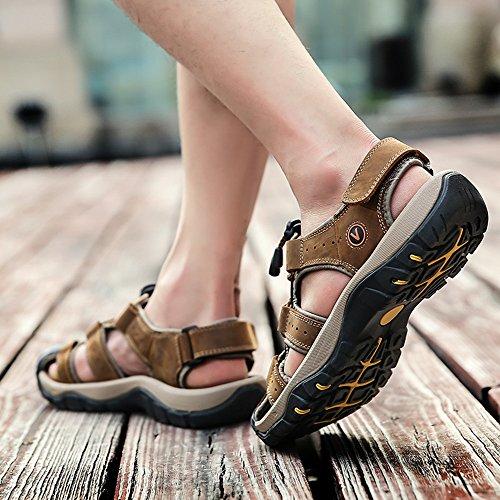 Sandalias de Verano Playa para Hombre Antideslizante Plataforma Calzados Deportivas Ajustable Hebilla Velcro Suede Slipper Negro Marron Amarillo 38-46