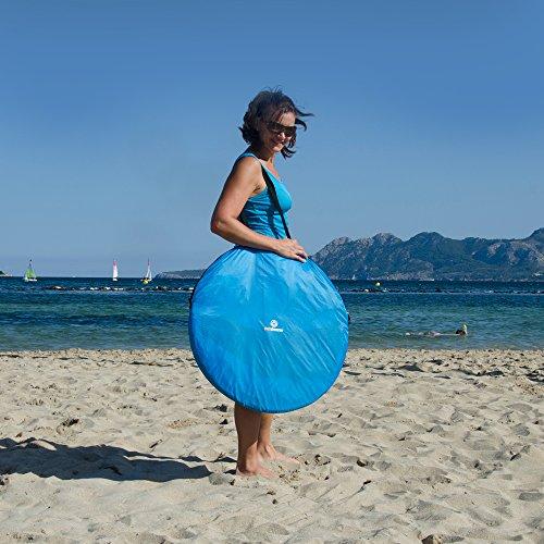 incluidas estaquillas y 3 ventanas outdoorer Tienda de Playa inst/ántanea PREMIUM azul UV 80